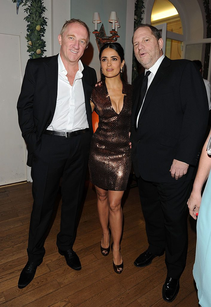 (L to R) Francois Pinault, actress Salma Hayek and Harvey Weinstein