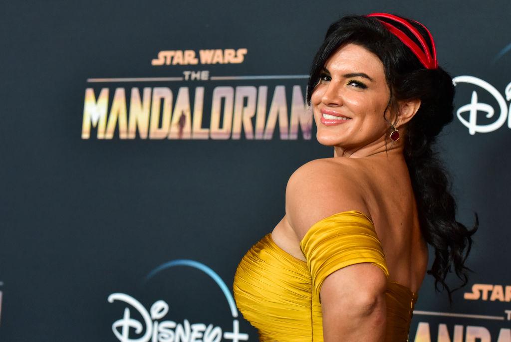 Gina Carano poses at the premiere of 'The Mandalorian.'