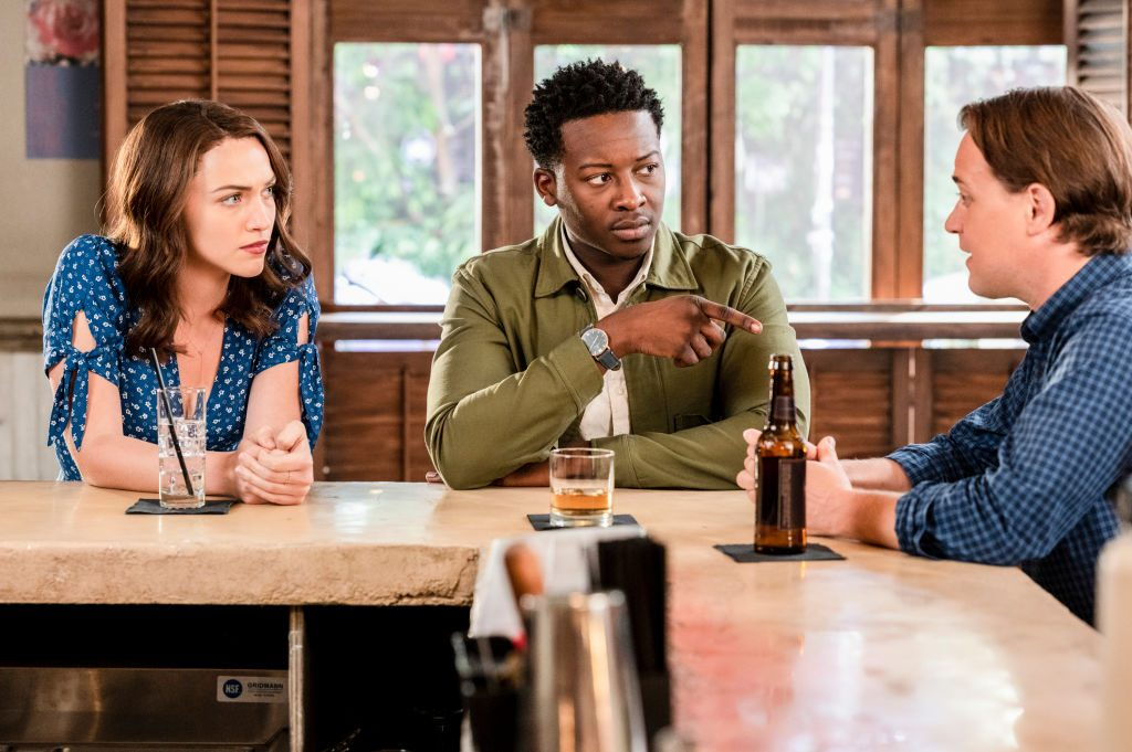 Violett Beane as Cara Bloom, Brandon Micheal Hall as Miles Finer and T.R. Knight as Gideon on 'God Friended Me'