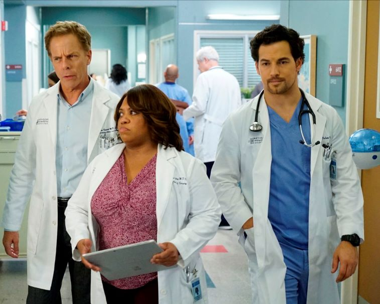 Greg Germann, Chandra Wilson and Giacomo Giannotti