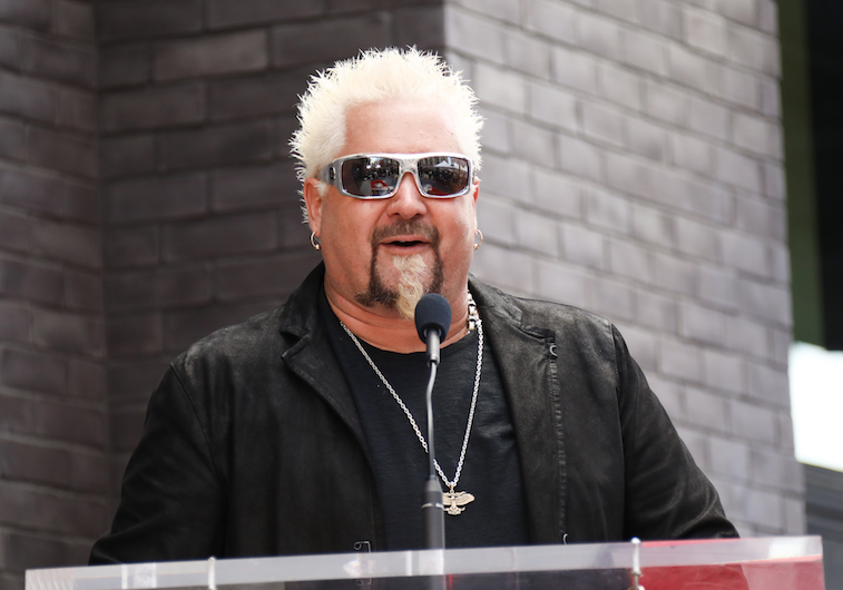 Guy Fieri accepting his Hollywood star