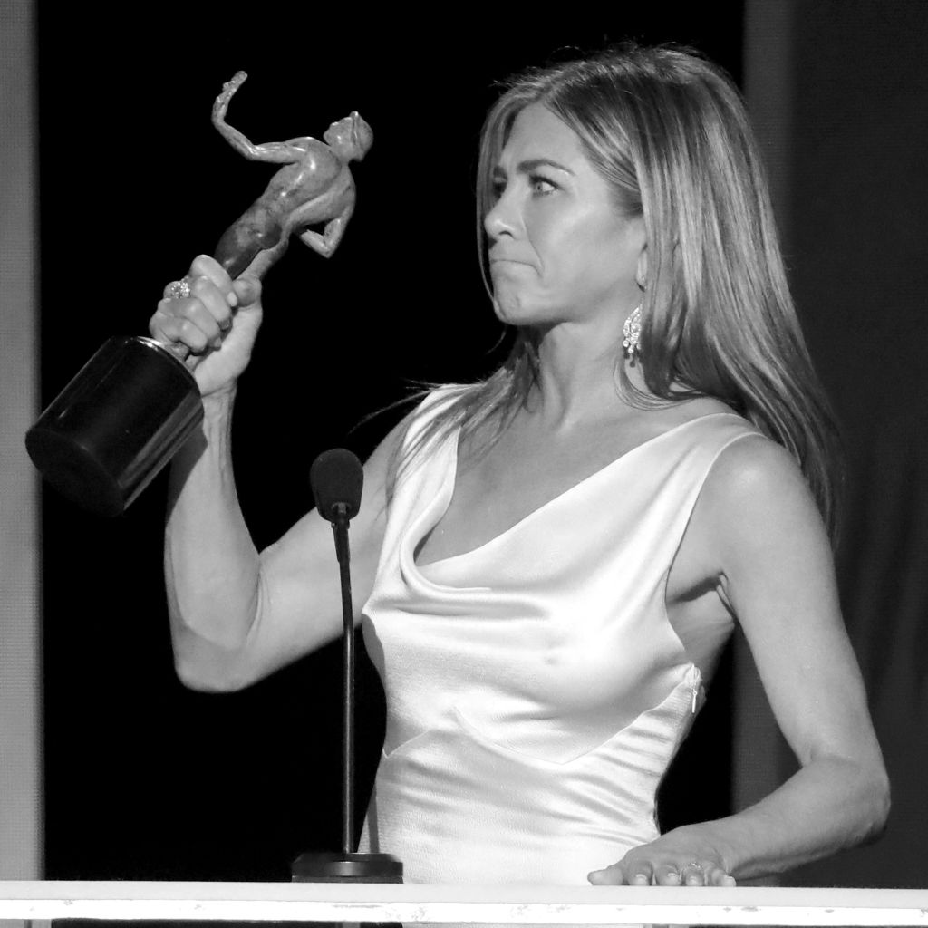 Jennifer Aniston accepts Outstanding Performance by a Female Actor in a Drama Series for 'The Morning Show' onstage during the 26th Annual Screen ActorsGuild Awards