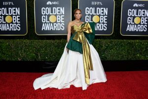 Jennifer Lopez's Golden Globes Gown Is Getting Compared to a Christmas Gift on Twitter
