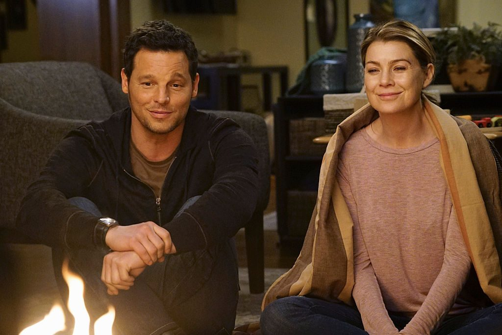 Justin Chambers and Ellen Pompeo as Alex Karev and Meredith Grey on 'Grey's Anatomy'  Season Twelve