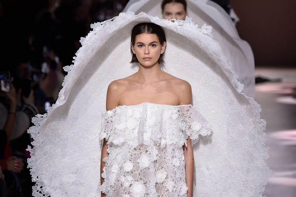 Kaia Gerber walks the runway during the Givenchy Haute Couture Spring/Summer 2020 show