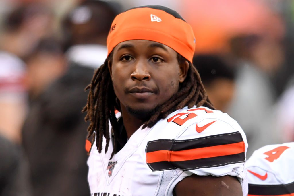 Kareem Hunt #27 of the Cleveland Browns on the sideline in the third quarter of a game against the Cincinnati Bengals on December 29, 2019