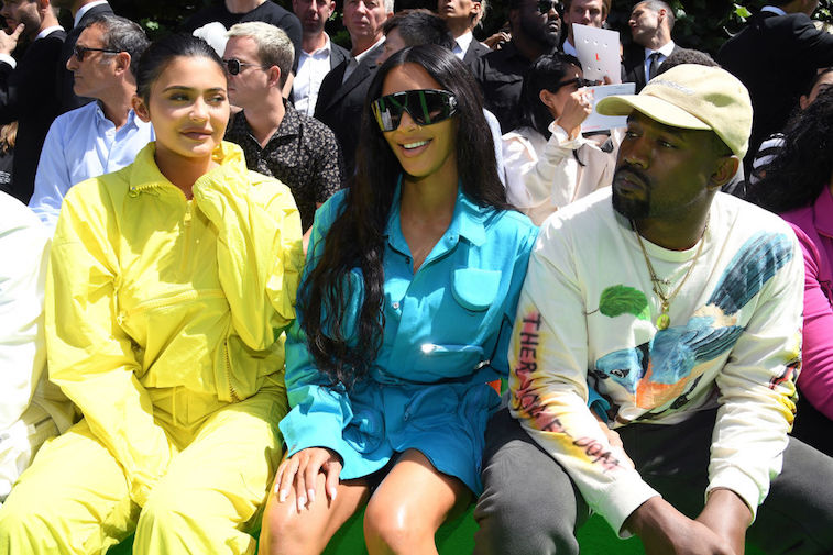 Kim Kardashian West with Kylie Jenner and Kanye West