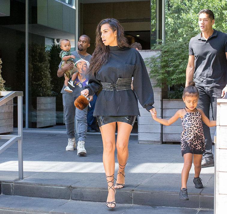 Kim Kardashian West and Kanye West with kids