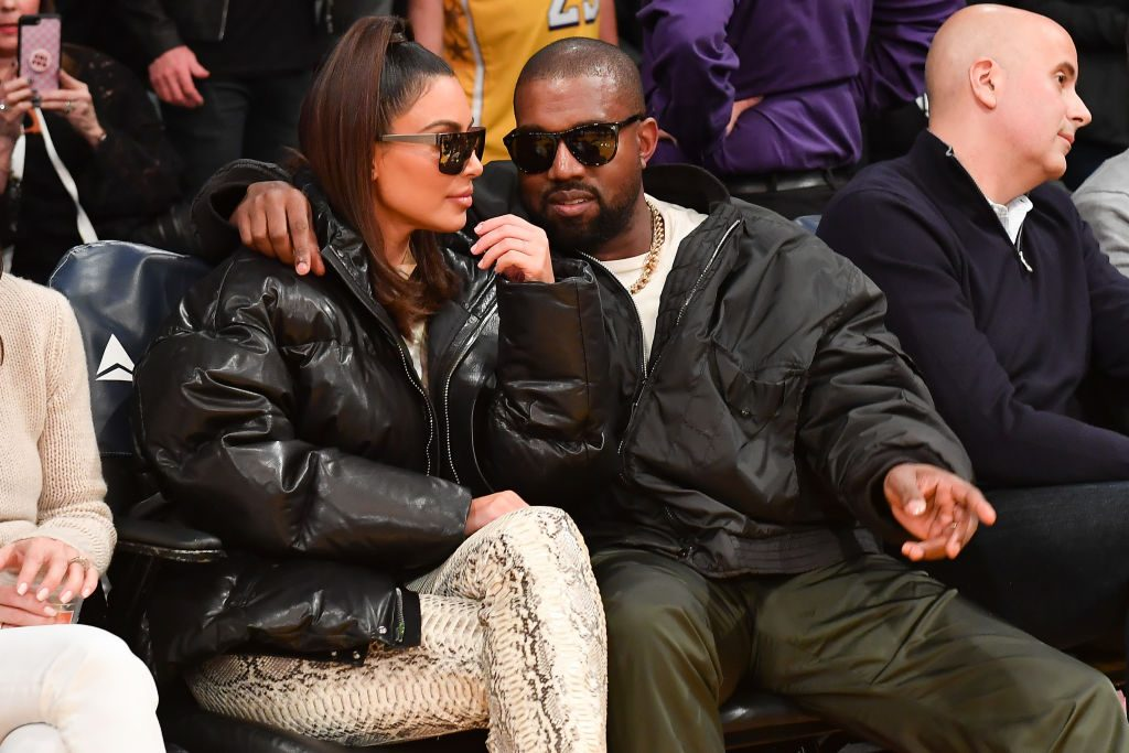 Kim Kardashian looks on during the game between the Los Angeles Lakers and the Cleveland Cavaliers