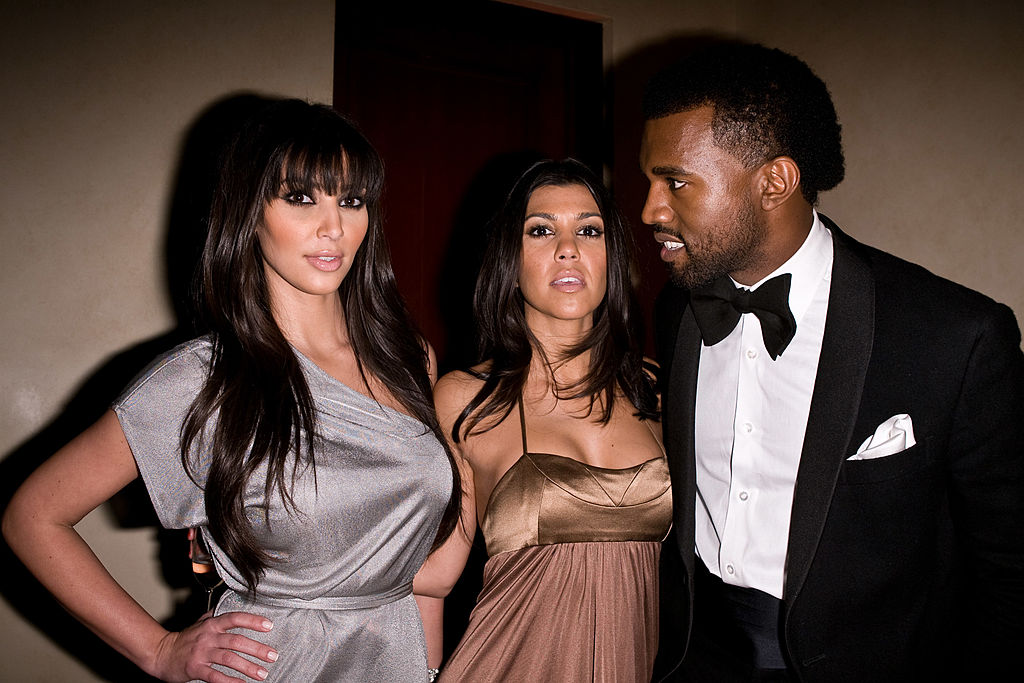 Kim Kardashian, Kourtney Kardashian, and Kanye West in 2008