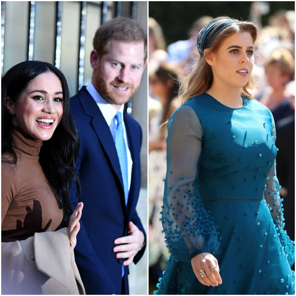 (L):  Prince Harry, Duke of Sussex and Meghan, Duchess of Sussex, (R): Princess Beatrice of York