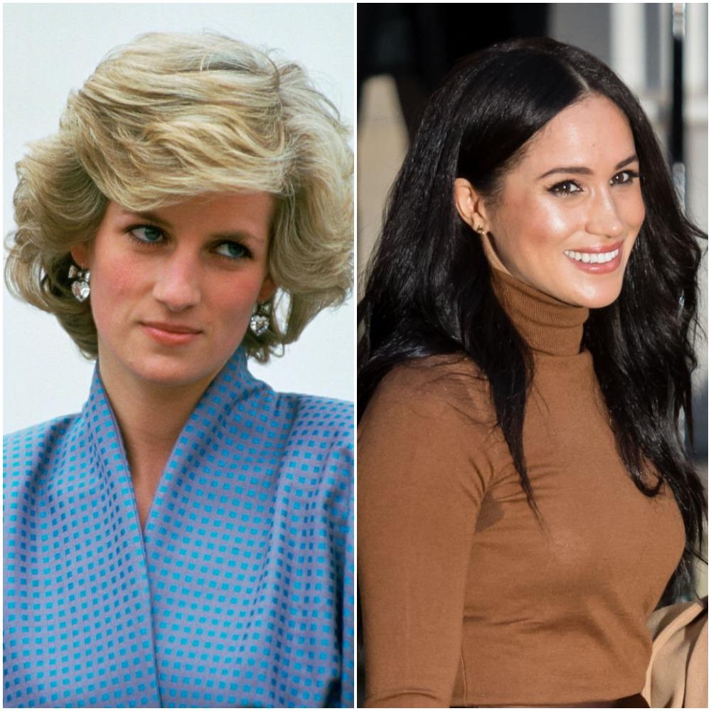 (L) Princess Diana, (R) Meghan Markle