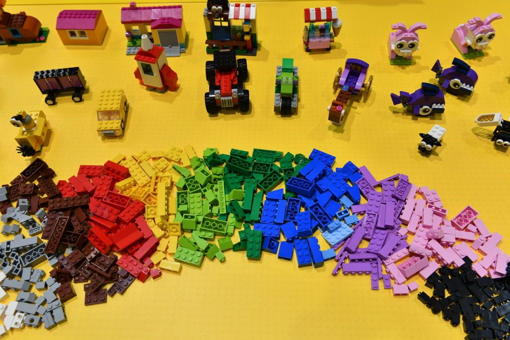 Lego blocks are seen at Lego booth on day five of the 2nd China International Import Expo