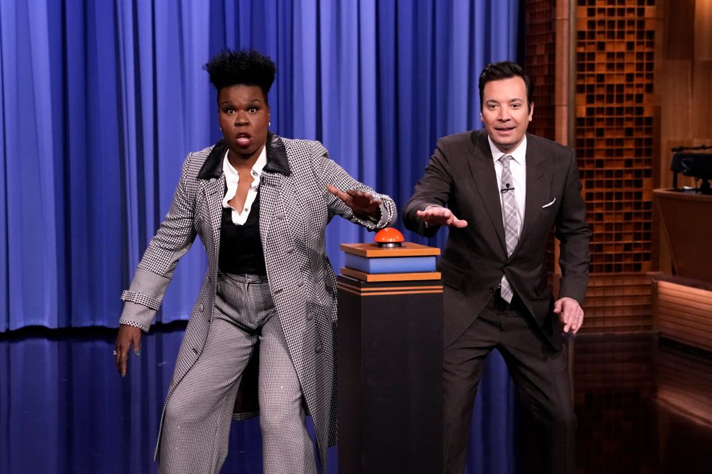 Comedian Leslie Jones and host Jimmy Fallon play a game
