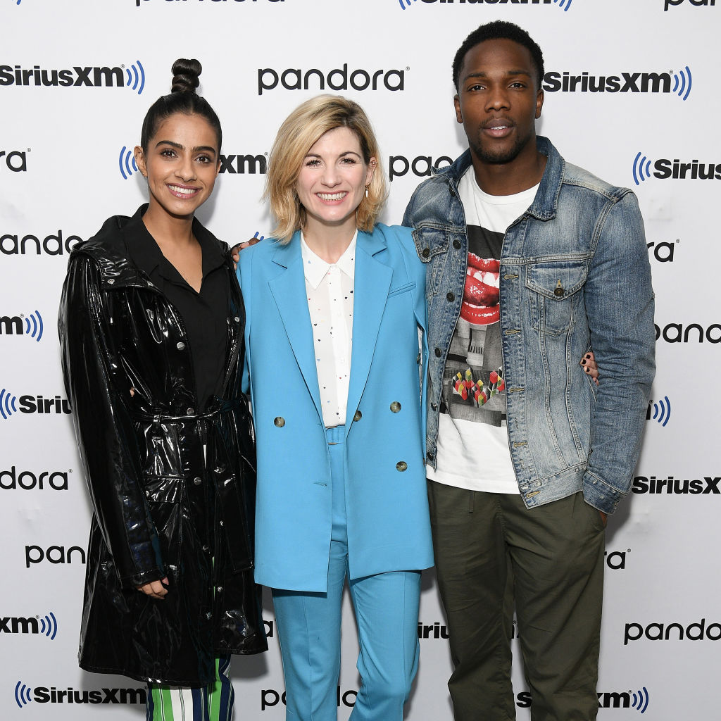 Mandip Gill, Jodie Whittaker, and Tosin Cole of Doctor Who season 12