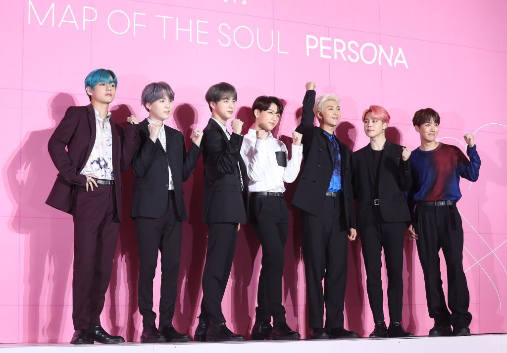 BTS is posing at a press conference marking the release of 'Map of the Soul Persona'