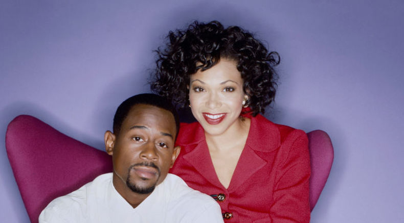 Martin Lawrence and Tisha Campbell  posing together for a promotional photo for 'Martin'
