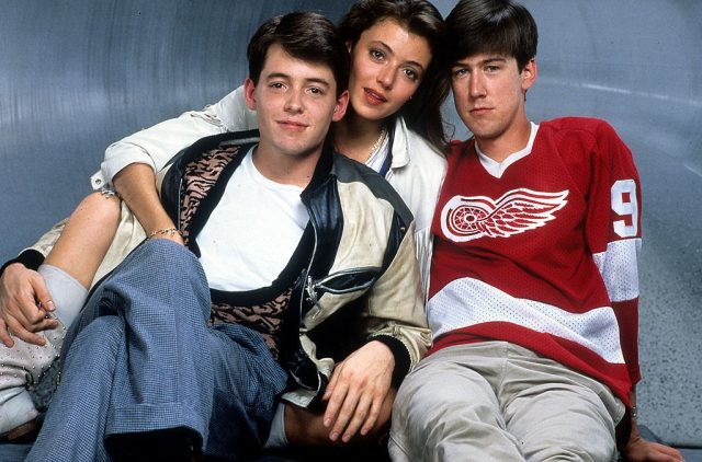Matthew Broderick, Mia Sara, and Alan Ruck in publicity portrait for 'Ferris Bueller's Day Off' on Jan 1. 1986