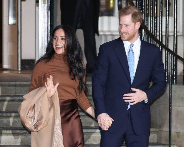 Meghan, Duchess of Sussex, and Prince Harry, Duke of Sussex leaving Canada House on Jan. 7, 2020