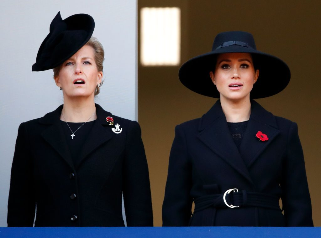 Meghan Markle and Sophie, the Countess of Wessex, at the annual Remembrance Sunday service
