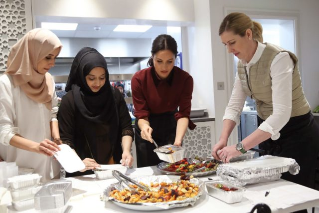 Meghan Markle, Duchess of Sussex, visits the Hubb Community Kitchen on Nov. 21, 2018