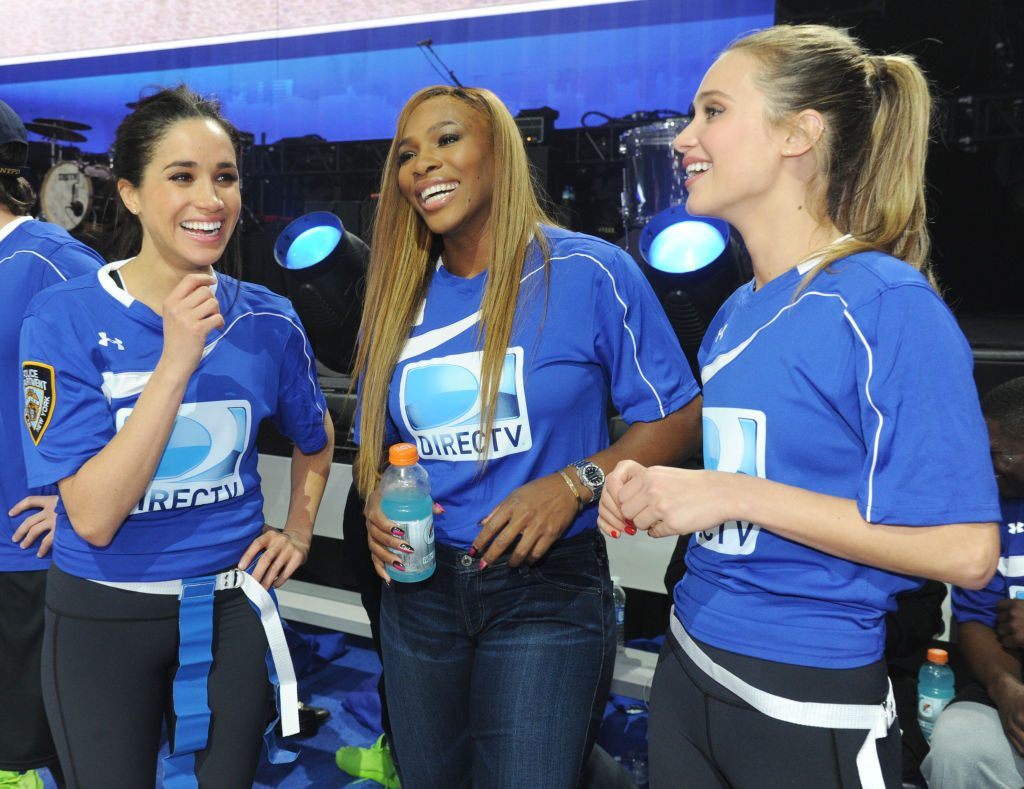 Meghan Markle, Serena Williams and Hannah Davis participate in the DirecTV Beach Bowl at Pier 40 on February 1, 2014 in New York City.