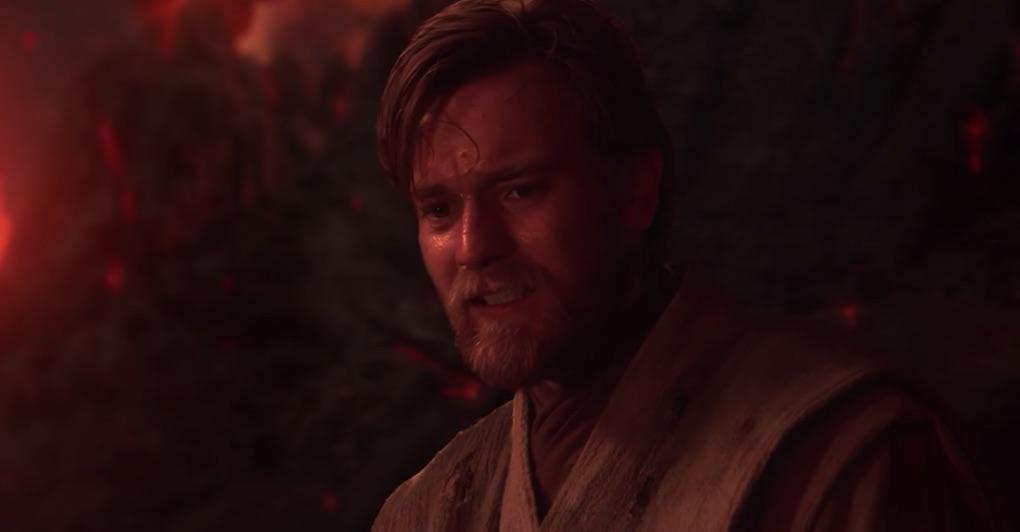 Obi-Wan Kenobi looks at his former Padawan and friend, Anakin Skywalker, as he's engulfed in flames on Mustafar, 'Revenge of the Sith.'