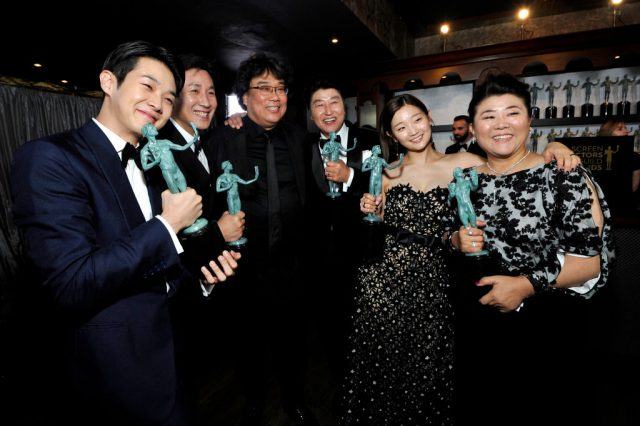 Bong Joon-ho and the cast of 'Parasite' at the Screen Actors Guild Awards
