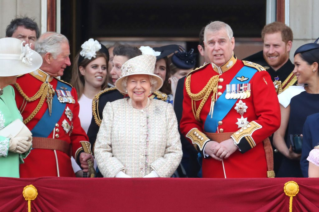 Prince Charles, Prince of Wales, Princess Beatrice, Princess Anne, Princess Royal, Queen Elizabeth II, Prince Andrew, Duke of York, Prince Harry, Duke of Sussex and Meghan, Duchess of Sussex during Trooping The Colour, the Queen's annual birthday parade, on June 08, 2019 in London, England