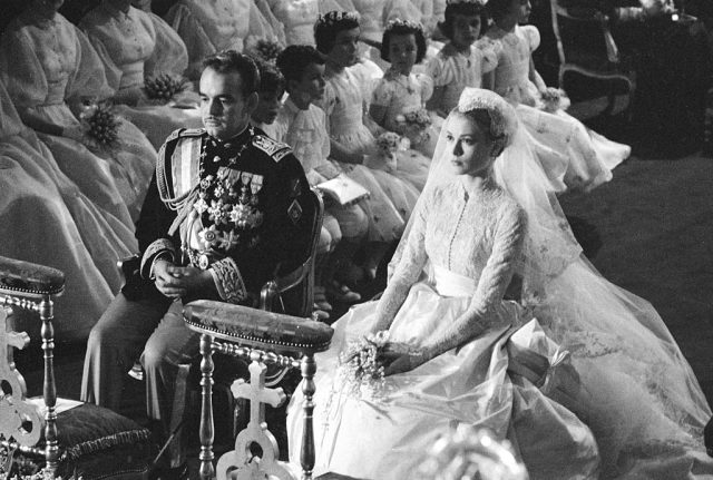 Prince Rainier of Monaco and Grace Kelly during their royal wedding ceremony.