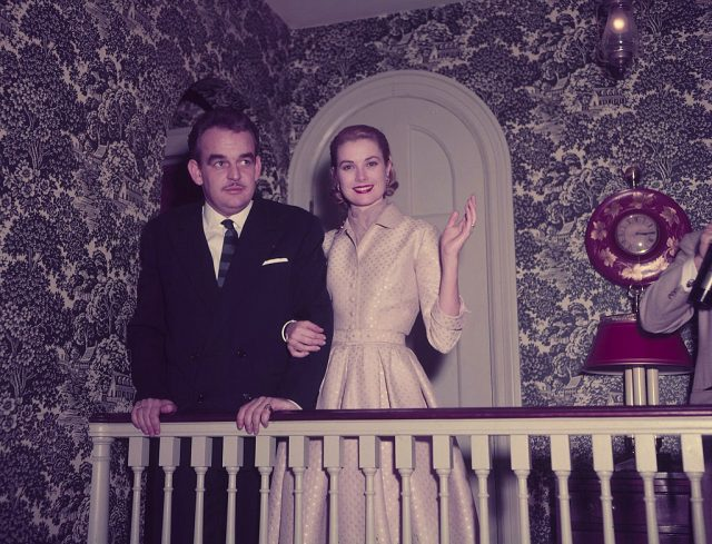Prince Rainier of Monaco and Grace Kelly following their engagement announcement