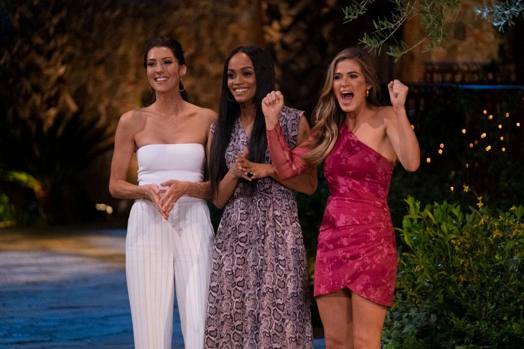 "Becca Kufrin, Rachel Lindsay, and Joelle ""Jojo"" Fletcher on the ABC special, 'Bachelorette Reunion: The Biggest Bachelorette Reunion in Bachelor History Ever!'"