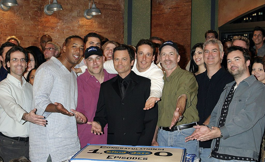 """Roger Lodge celebrates the 1000th episode of """"Blind Date"""" with the producers of the show at Raleigh Studios"""