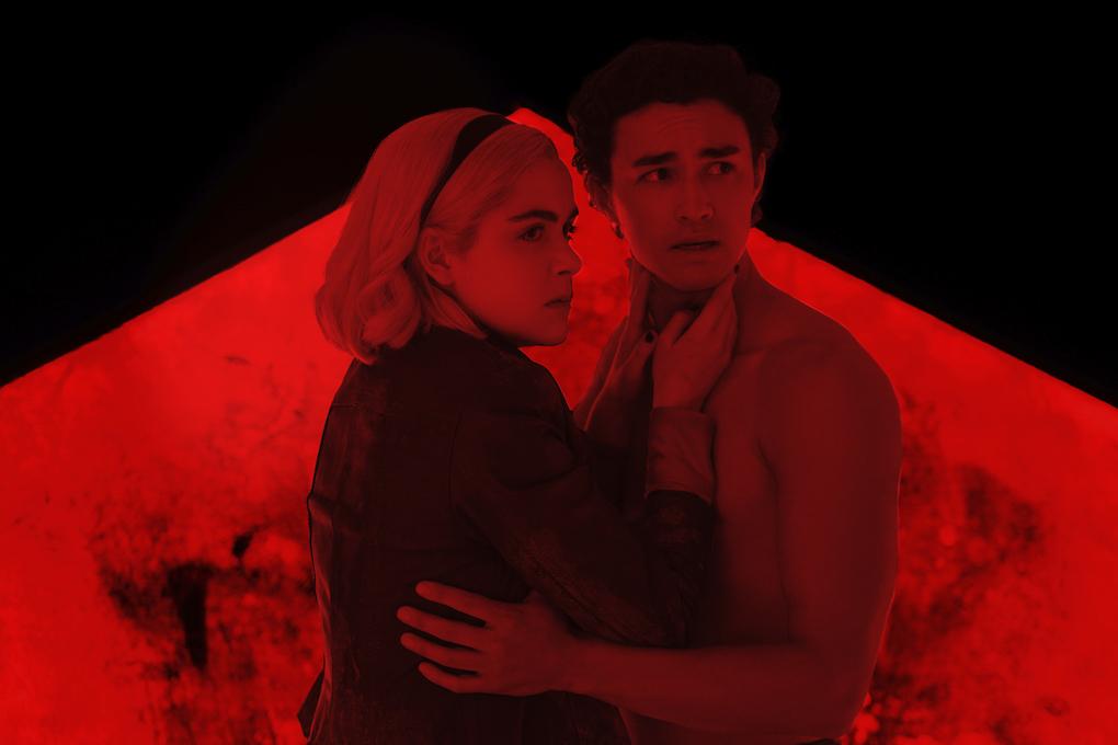 Sabrina (Kiernan Shipka) and Nick (Gavin Leatherwood) meet in the Hell, 'CHILLING ADVENTURES OF SABRINA.'