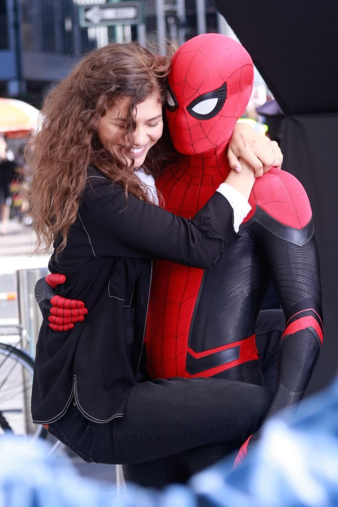 Zendaya and Tom Holland as Michelle Jones and Spider-Man