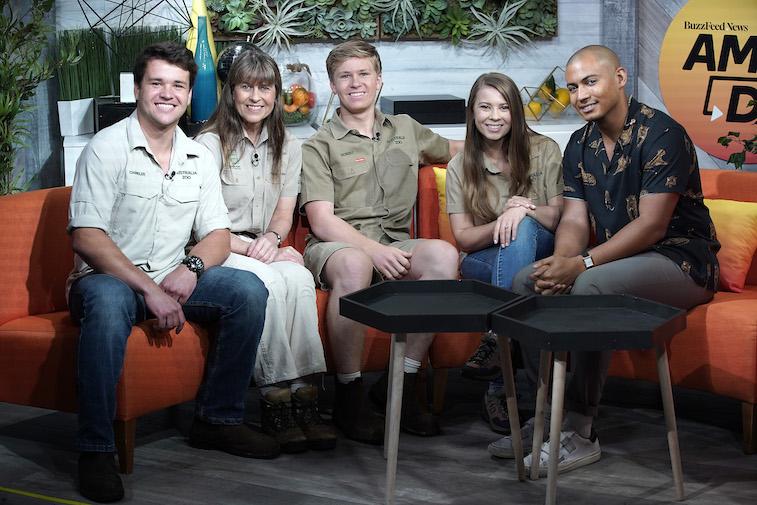 Chandler Powell, Terri Irwin, Robert Irwin and Bindi Irwin at BuzzFeed