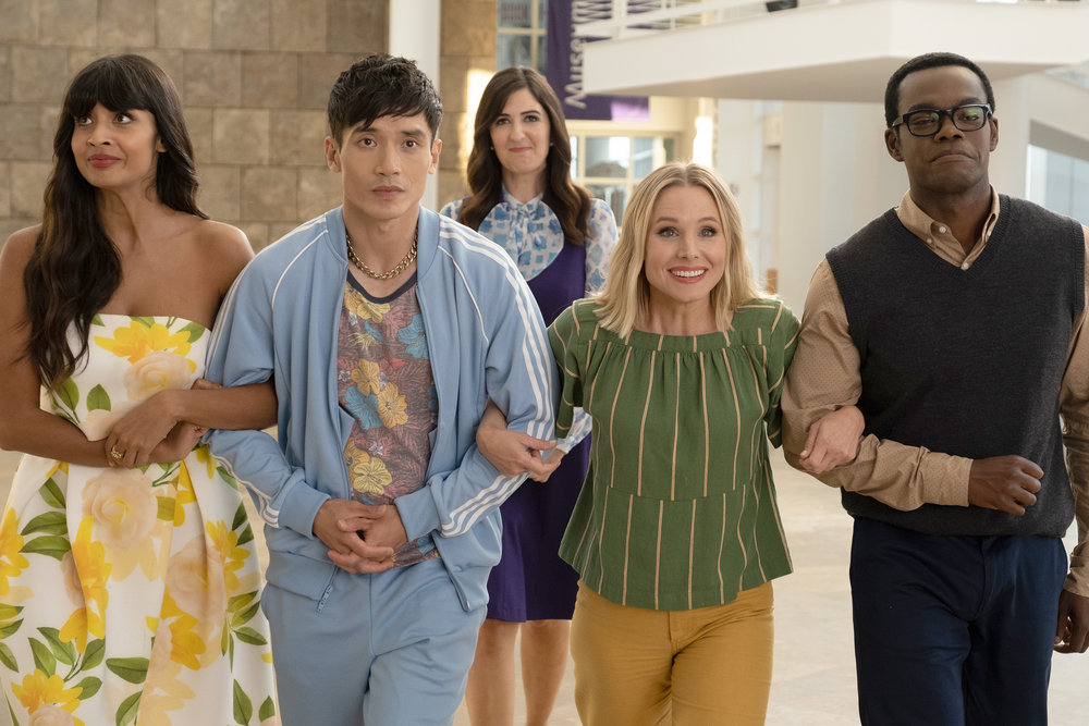 """William Jackson Harper as Chidi and Kristen Bell as Eleanor in The Good Place Season 4 Episode """"Whenever You're Ready"""""""