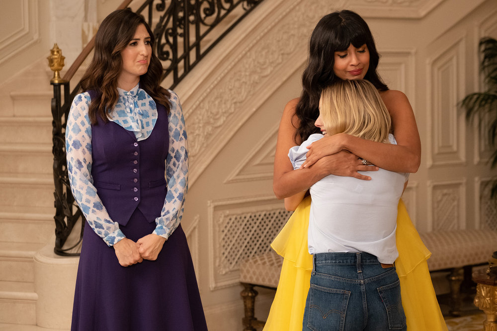 D'Arcy Carden as Janet, Kristen Bell as Eleanor, William Jackson Harper as Chidi, Ted Danson as Michael, Manny Jacinto as Jason, and Jameela Jamil as Tahani on The Good Place