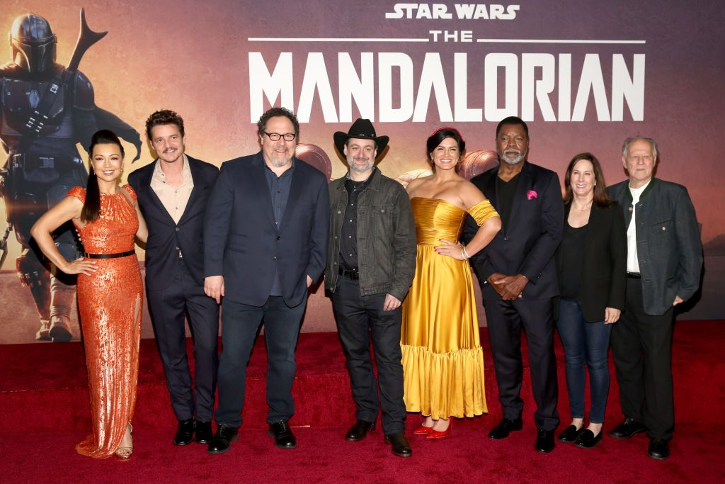 The cast of 'The Mandalorian' (minus Baby Yoda) at the premiere of the show