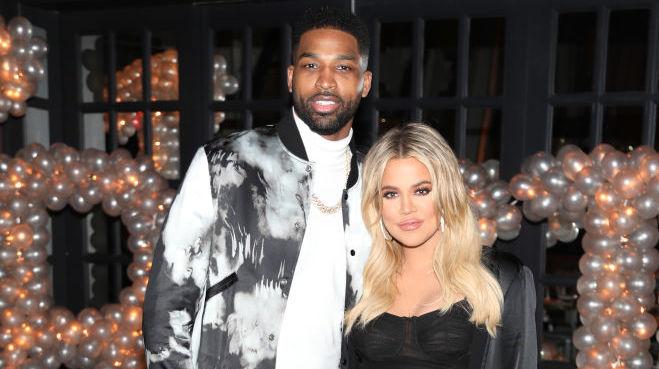 Tristan Thompson and Khloé Kardashian at a party