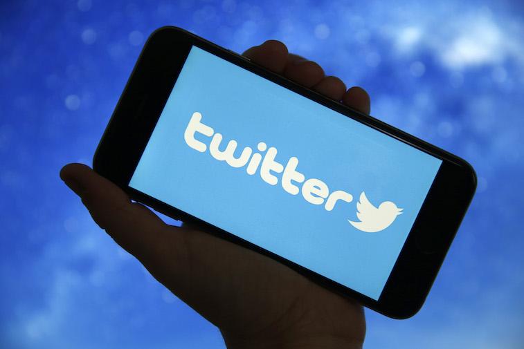 Twitter logo shown on a phone screen