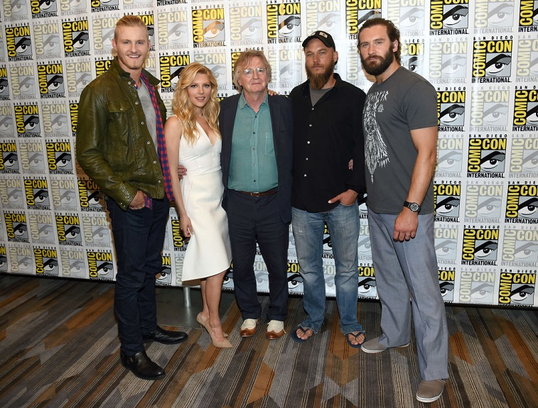 Alexander Ludwig, Katheryn Winnick, writer/producer Michael Hirst, Travis Fimmel, and Clive Standen