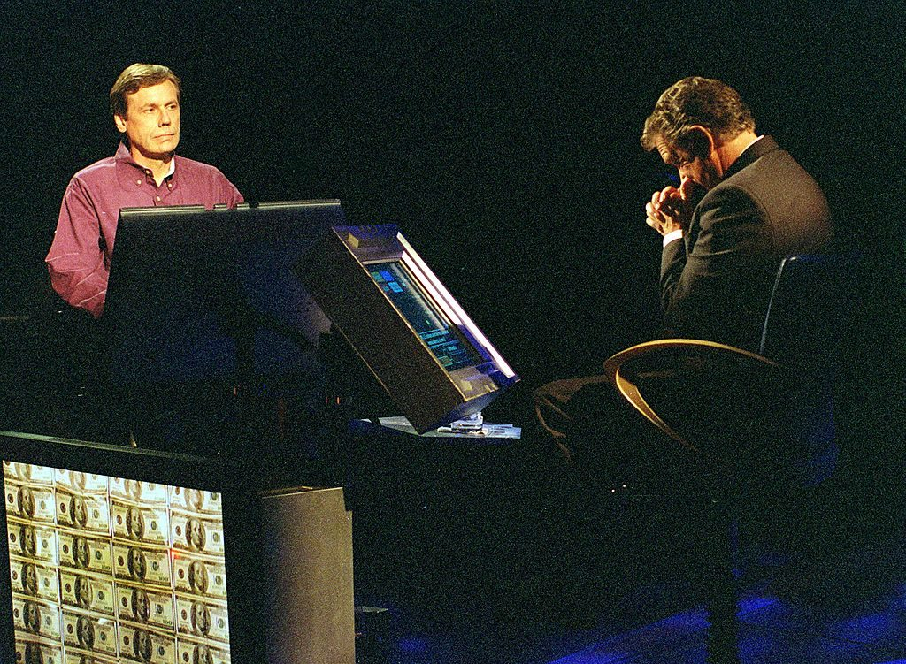 Ed Toutant and Regis Philbin in an early episode of 'Who Wants to Be a Millionaire'