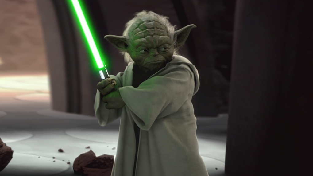 Master Yoda facing off against Count Dooku in 'Star Wars Episode II: Attack of the Clones.'