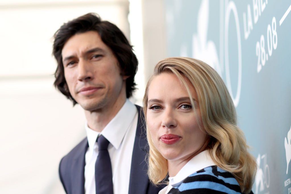 """Adam Driver and Scarlett Johansson attend """"Marriage Story"""" photocall during the 76th Venice Film Festival on August 29, 2019"""