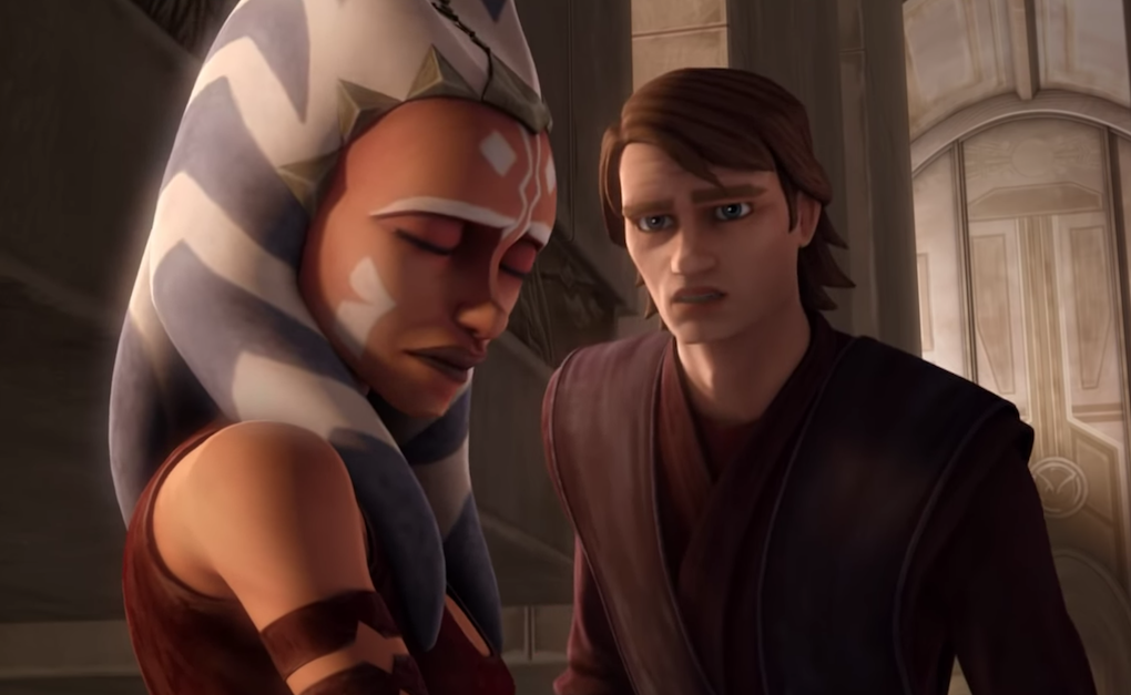 Ahsoka and Anakin outside the Jedi temple after she leaves the Order.