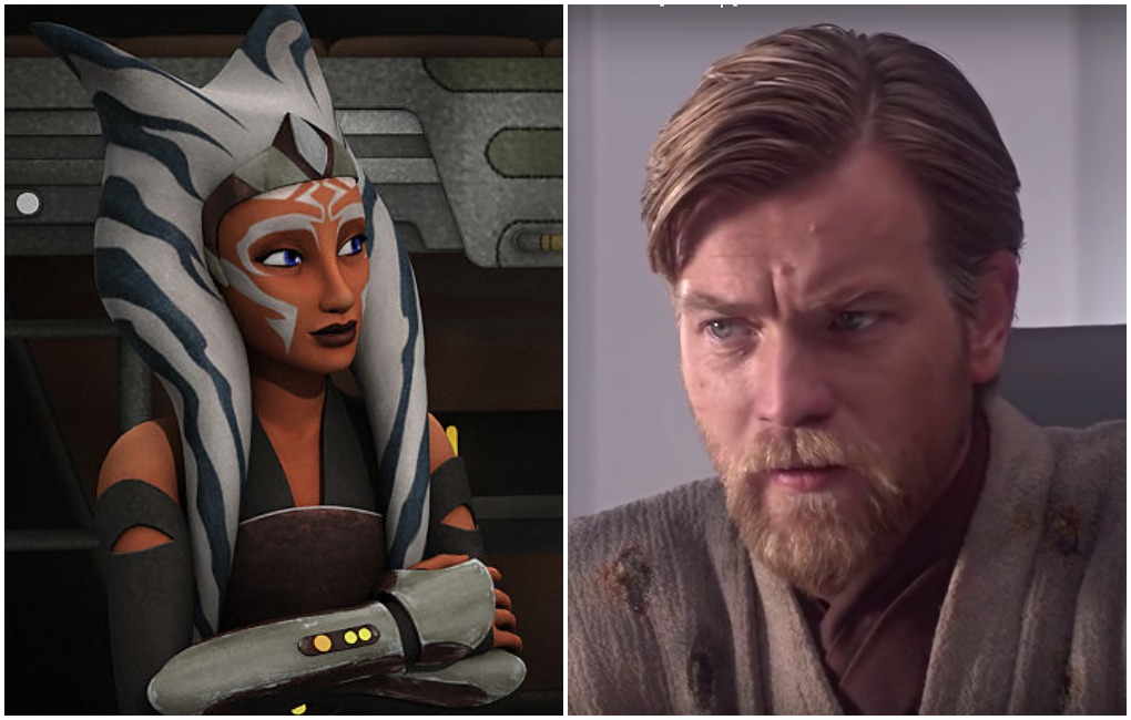 "Ahsoka Tano in the 'Star Wars Rebels' episode ""The Future of the Force""/Obi-Wan Kenobi (Ewan McGregor) in 'Revenge of the Sith.'"
