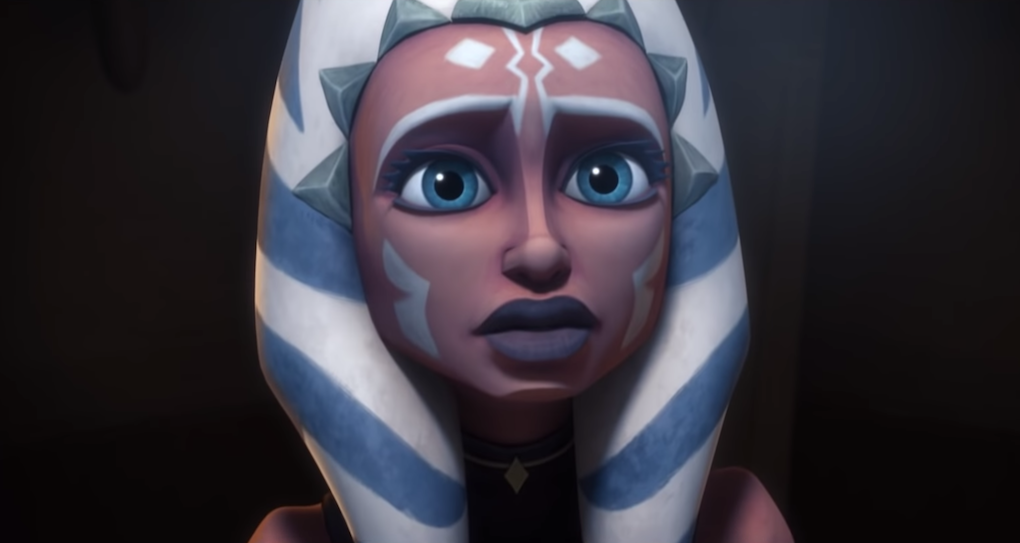 "Ahsoka Tano on trial with the Jedi Council in Season 5, Episode 20 ""The Wrong Jedi."""