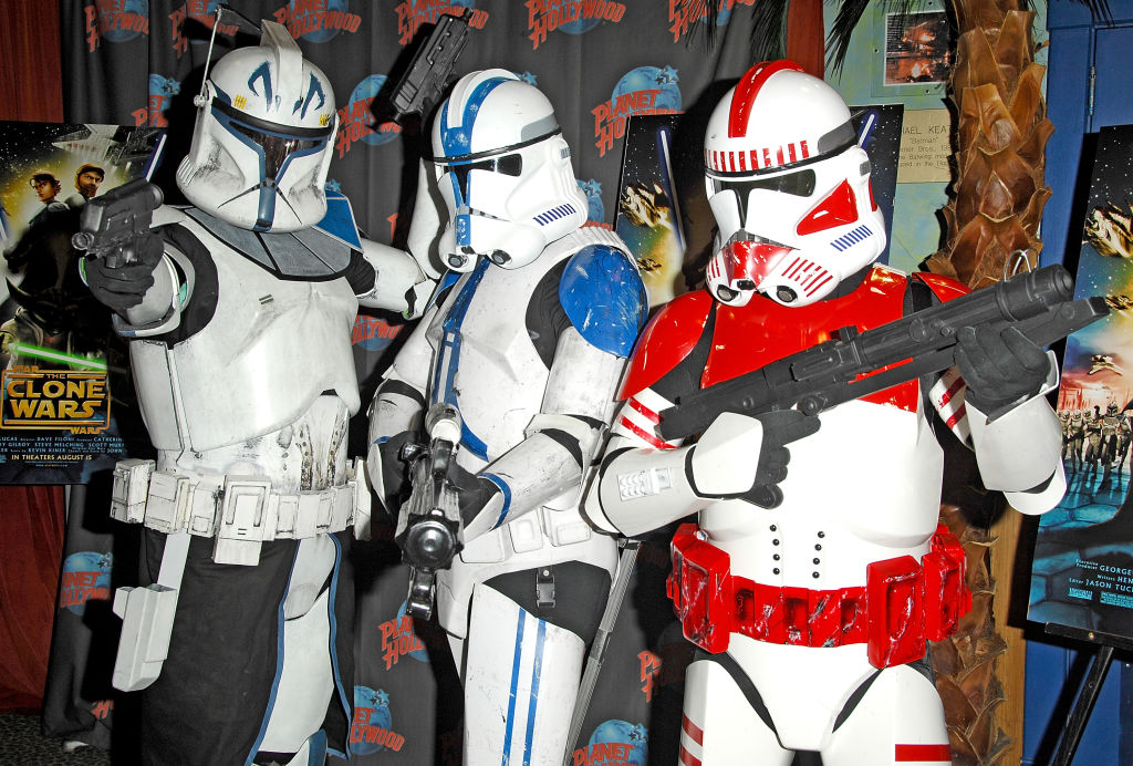 Actors portraying Clone Troopers from the 'Star Wars: The Clone Wars' film in 2008 in New York City.
