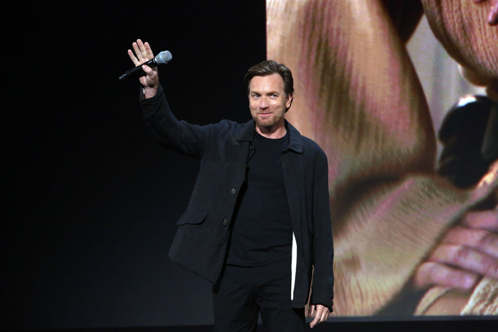Ewan McGregor waves on stage at Disney's D23 EXPO 2019 for the 'Untitled Obi-Wan Kenobi Series.'